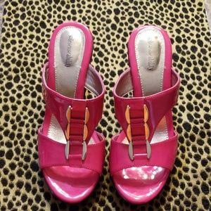 Hot pink High heels slip on. 2 & half inches heels